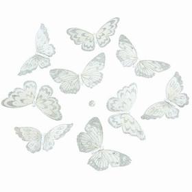 """Butterly Garland - White Butterflies w/Silver Glitter - 70"""" Long"""
