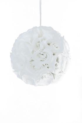 """Flower Ball - Silk Rose - Pomander Kissing Ball 10.5"""" - White"""