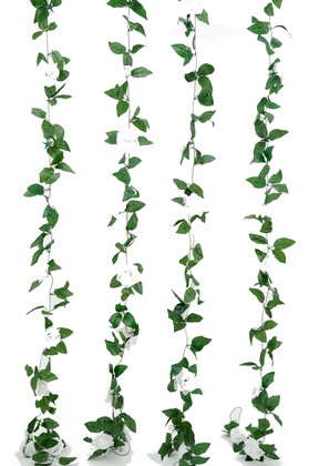 Artificial White Roses and Leaves Garland | 8Ft Long  Wedding and Event Decoration | ShopWildThings.com