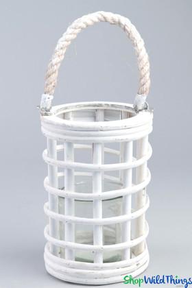 "Hanging Wooden Candle Lantern Cylinder - White 8"""