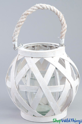 "Hanging Wooden Candle Lantern Round - White 8 1/2"" - BUY MORE, SAVE MORE!"