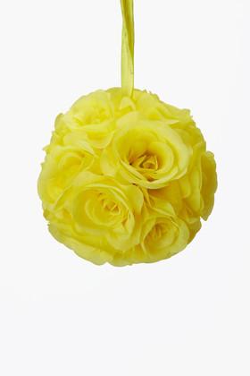 "Flower Ball - Silk Rose - Pomander Kissing Ball 6"" - Yellow"