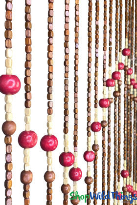 Brown and Red Beaded Curtains ShopWildThings.com