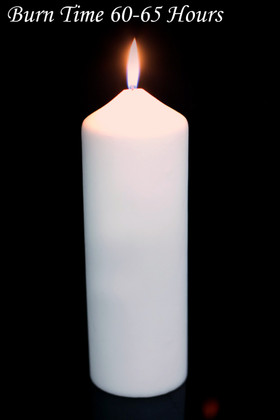 """Pillar Candle 3x9"""" White - Burn Time 60-65 Hours - Unscented. Dripless"""