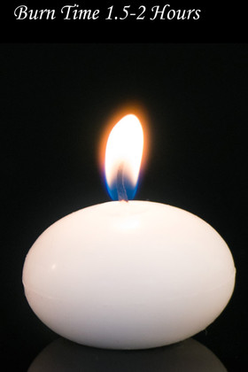 """Floating Candles White 1"""" 12pcs - Burn Time 1.5-2 Hours - Unscented. Dripless"""