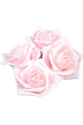"""Real Feel Foam Roses 2"""" - Baby Pink - 12 Pcs (Floating!)"""