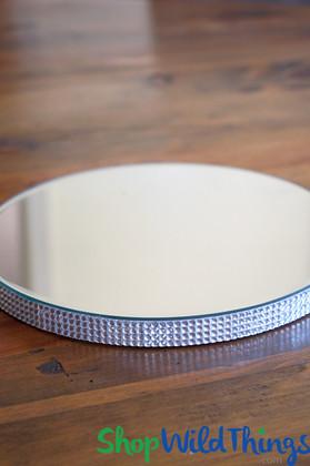 """Round Centerpiece Mirror Riser & Dessert Stand w/Rhinestone Border 10"""""""