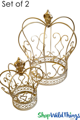 Set of 2 Gold Crowns for Centerpiece Decoration ShopWildThings.com