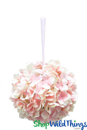 "Flower Ball - Silk Hydrangea - Pomander Kissing Ball 8"" - Pink & Cream"