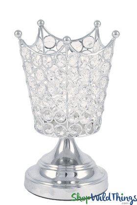 """Real Crystal Beaded Candle Holder - """"Prestige"""" Crown - 8 1/2"""" Silver"""