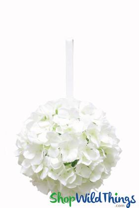 "Flower Ball - Silk Hydrangea - Pomander Kissing Ball 8"" - Ivory"