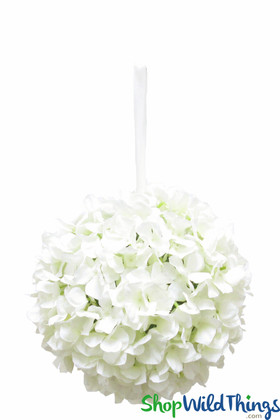 "Flower Ball - Silk Hydrangea - Pomander Kissing Ball 10"" - Ivory"
