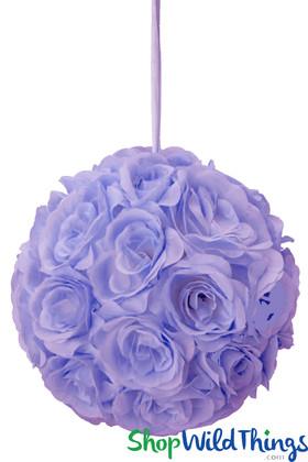 """Flower Ball - Silk Rose Pomander Kissing Ball 9 1/2"""" - Lavender"""