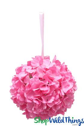 "Flower Ball - Silk Hydrangea - Pomander Kissing Ball 12"" - Pink"