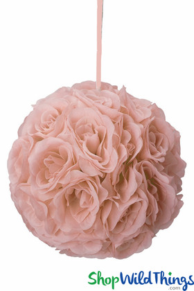 "Flower Ball - Silk Rose Pomander Kissing Ball 9 1/2"" - Blush Peach"