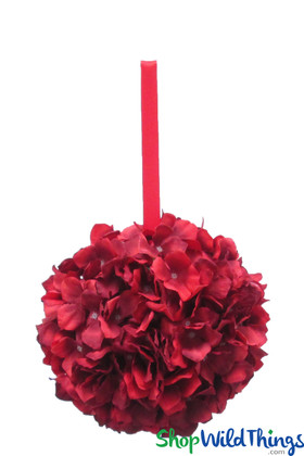 "Flower Ball - Silk Hydrangea - Pomander Kissing Ball 8"" - Romantic Red Two-Toned"