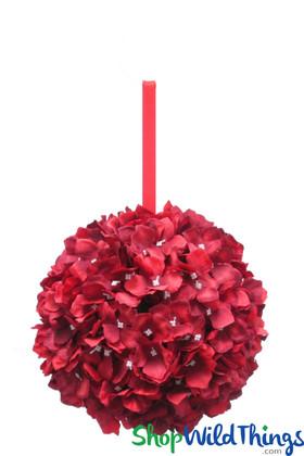 "Flower Ball - Silk Hydrangea - Pomander Kissing Ball 10"" - Red"