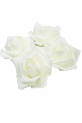 "Real Feel Foam Roses 3"" - Ivory - 12 Pcs (Floating!)"