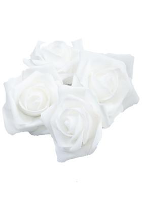 """Real Feel Foam Roses 3"""" - White - 12 Pcs (Floating!)"""