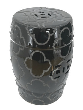 "Garden Stool ""Liang"" Black - Etched Mod Pattern 18.5"" x 13.5"""