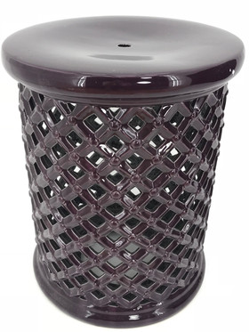 "Garden Stool - ""Sonoma"" Deep Purple Lattice 17.5"" x 14"""