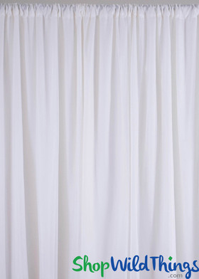 Sheer Draping Panel White 10' Tall x 10' Wide w/ Top & Bottom Rod Pockets Flame Resistant - Ceilings or Backdrops