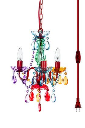 "Chandelier Bohemian Multicolor - 16"" x 13"" - 3 Lights - With Plug"