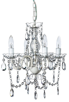 """Chandelier Bohemian White & Clear - 18"""" x 15"""" - 4 Lights - Hardwire - Collapsible"""