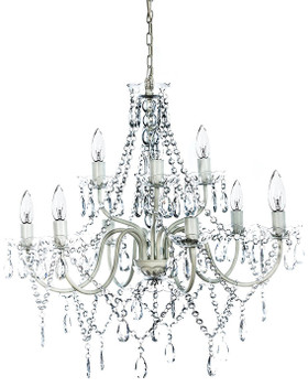 """Chandelier Bohemian Clear - 27"""" x 27"""" - 9 Lights - Collapsible!"""