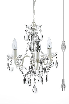 """Chandelier Bohemian White & Clear - 16"""" x 13"""" - 3 Lights - With Plug - Collapsible"""