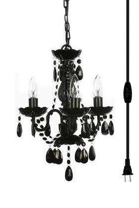 "Chandelier Bohemian Black - 16"" x 13""  - 3 Lights - With Plug"