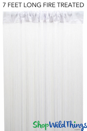 White Fire Treated String Curtain Fringe Panel for Doors and Windows, 7' Long Rod Pocket Curtain Backdrop by ShopWildThings.com