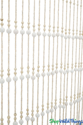 """Wooden Bead Curtain - """"Foster Ivory & Bone"""" - 35"""" x 68"""" - 19 Strands"""