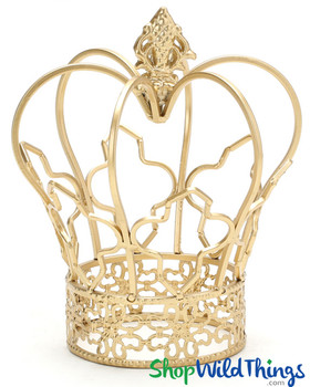 """Fancy Crown Stand Decoration - Gold - 6.5"""" x 7.5"""""""