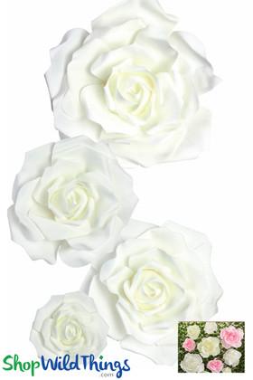 """Real Feel Foam Rose 4Pc Set - 8"""", 12"""", 15"""" & 20"""" - White (Floating)  - Make Flower Walls!"""
