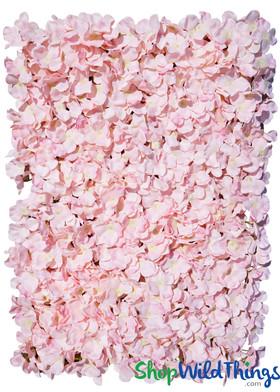 "Flower Wall 15.5"" x 23.5"" Silk Hydrangeas - Blush Pink"