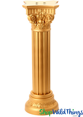 Roman Pillar Column Stand, Floral and Plant Riser, Gold Grecian Column by ShopWildThings.com