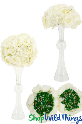 """Premium Silk Flower Ball 14"""",  Super Full Vase Topper with Large Cream Flowers by ShopWildThings.com"""