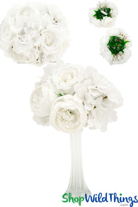 """Premium Silk Flower Ball 10"""",  Super Full Vase Topper with Large Pure White Flowers, Splits into 2 by ShopWildThings.com"""