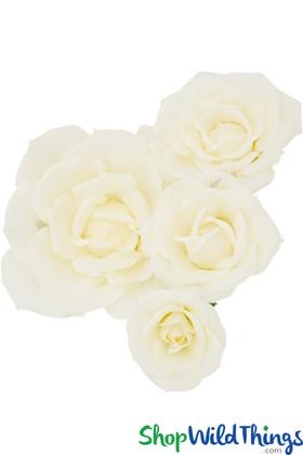 "Silk Roses 4Pc Set - 7"", 10"", 13"" & 18"" - Ivory - Make Flower Walls!"