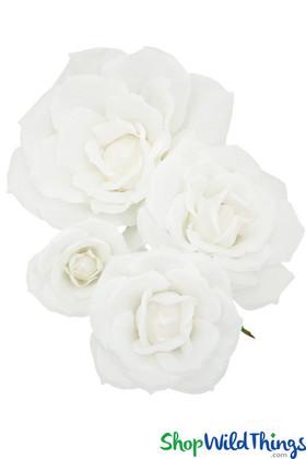 """Silk Rose 4Pc Set - 7"""", 10"""", 13"""" & 18"""" - White - Make Flower Walls!"""