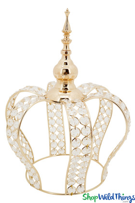 """Prestige Real Crystal Beaded Crown - 15""""H x 11""""W  - Gold"""