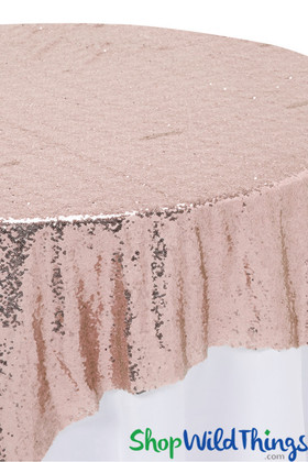 "Table Overlay, Backdrop - Blush Pink - Sequins - 72"" x 72"""