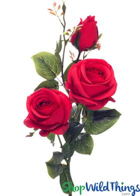 "Silk Roses Spray - 3 Heads - 31"" - Red"