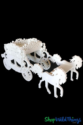 "Large Wooden Cinderella Carriage & Horses Prop - White - 27""L x 10""W x 11 1/2""H"