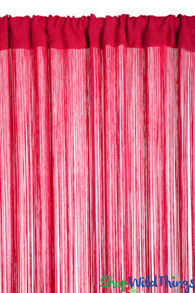 "String Curtain Red 3FT x 7.3FT (88"") - Polyester & Cotton ""Nassau"""