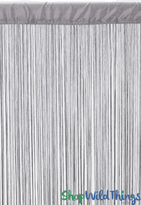 Silver Gray String Curtain Fringe Panel for Doors and Windows, 7' Long Rod Pocket Curtain Backdrop by ShopWildThings.com