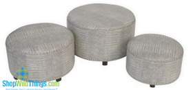 Round Ottomans, Gray with Silver Trim, Set of 3!