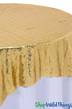 "Table Overlay, Backdrop - Gold - Sequins - 72"" x 72"""