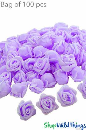 "BOGO Real Feel Foam Roses 2.5"" - Lilac Purple - 100Pcs (Floating!)"
